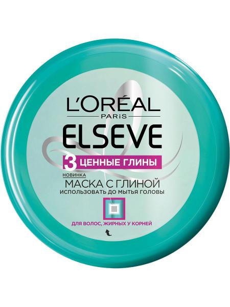 Косметическая маска для волос, жирных у корней, «Elseve 3 Ценные Глины», L