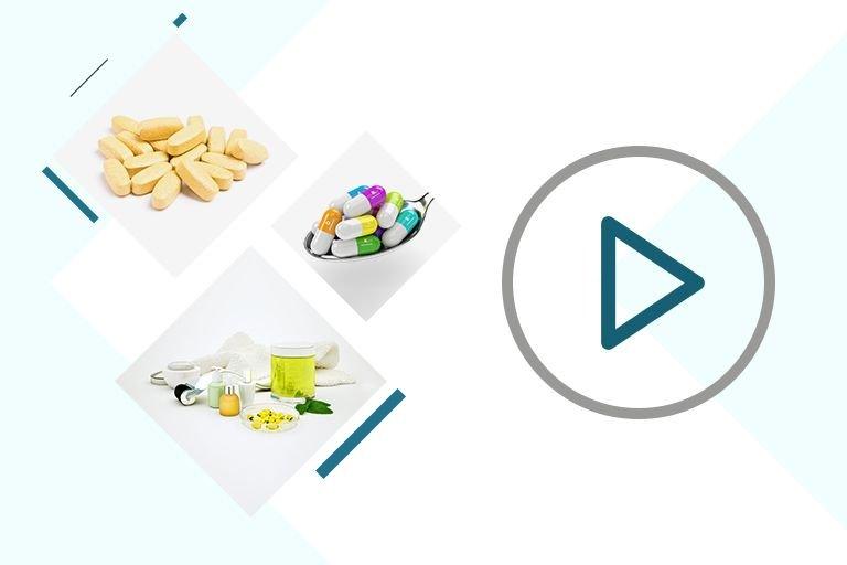 витамины в таблетках и капсулах и продукты, содержащие витамины
