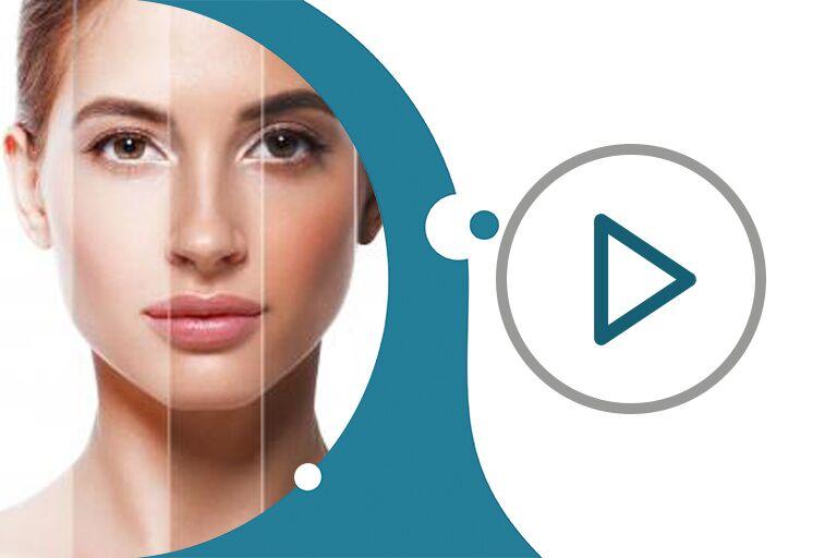 лицо кареглазой девушки с ухоженной кожей, поделенное вертикально на зоны разной пигментации