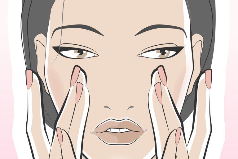 рисунок девушка наносит кончиками пальцев сыворотку на лицо