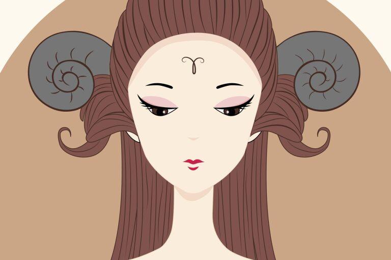рисунок девушки в образе знака зодиака овен
