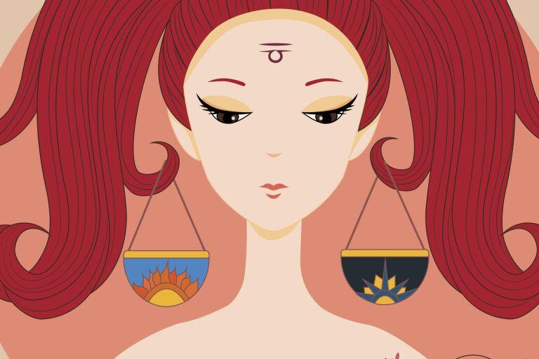 рисунок девушки в образе знака зодиака весы