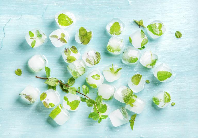 кубики льда с мятой