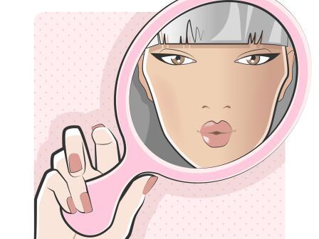 Отражение девушки в зеркале иллюстрация