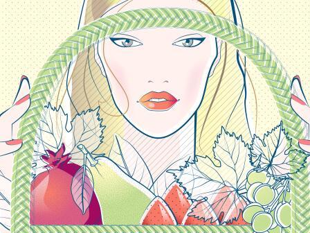 Блондинка с сезонными фруктами в корзине, иллюстрация