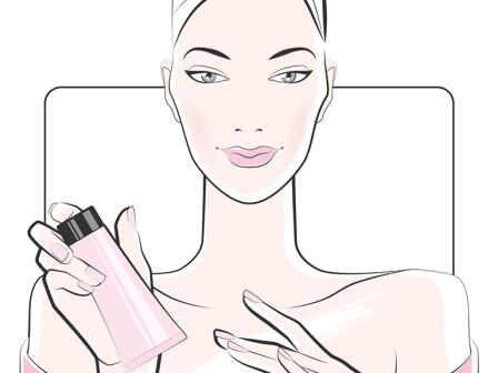 Девушка с открытыми плечами и кремом в руке, иллюстрация